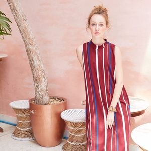 sleeves Maxi Dress - Strip